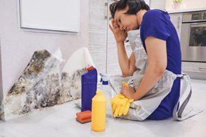 Frau vor Schimmel in Küche