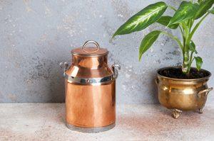 eine glänzende Kupferkanne steht neben einem Blumentopf aus Messing