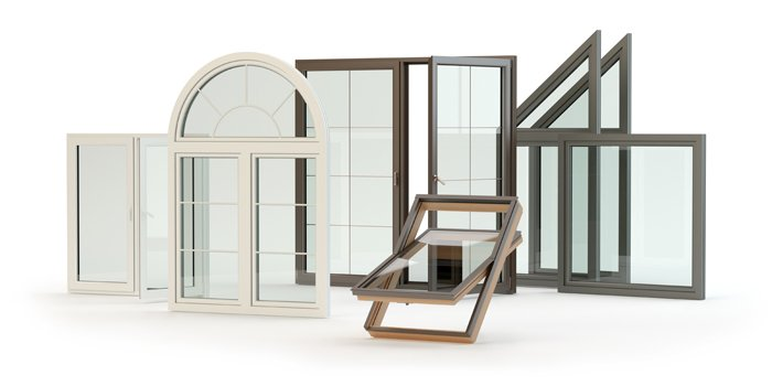 Auswahl verschiedener Fensterrahmen