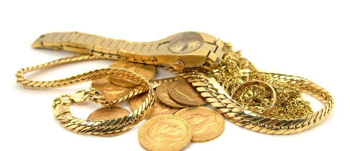 Goldketten Goldringe, Golduhr und Goldmünzen