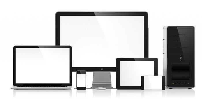 PC, Laptop, Tablet und Smartphones auf weißem Grund
