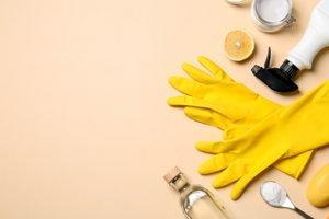 Essig, Zitrone und Putzhandschuhe auf lachsfarbenem Grund