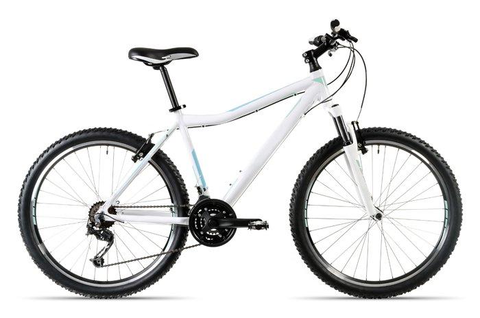 ein weißes Mountainbike isoliert vor weißem Hintergrund