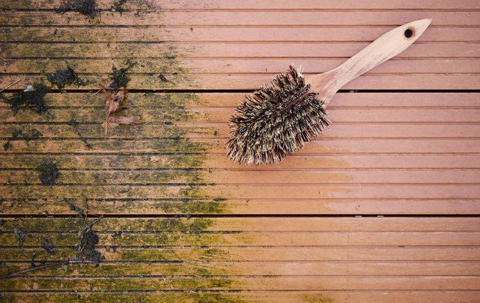 Holzterrasse mit Grünbelag, halb abgeschrubbt